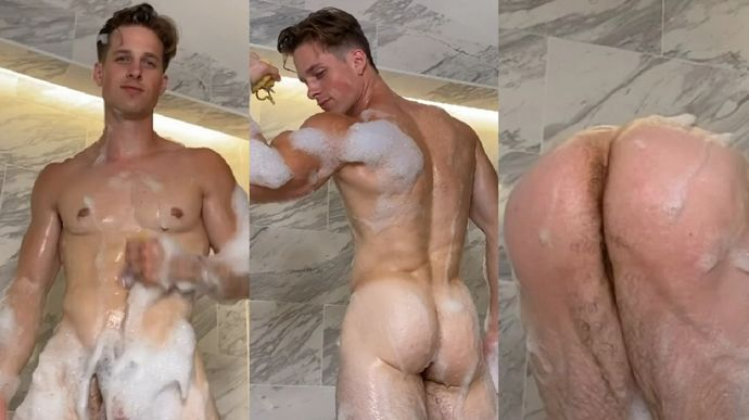 Nick Sandell naked in shower onlyfans