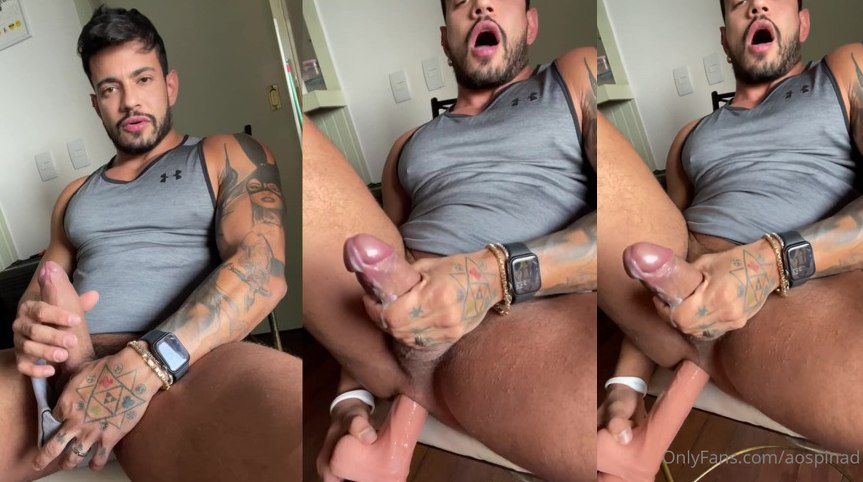 Alejo Ospina cumming with dildo in ass onlyfans