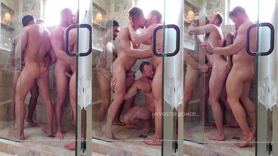 Orgy in shower SLCChunkyMonkeys Ricky Johnny Donovan